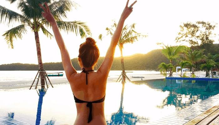 The One Resort là nơi duy nhất có hồ bơi trên đảo.