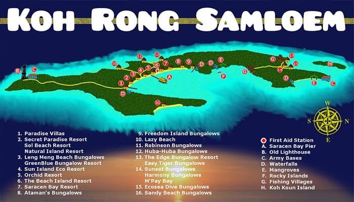 Bản đồ đảo Koh Rong Saloem bao gồm địa điểm của các resort.