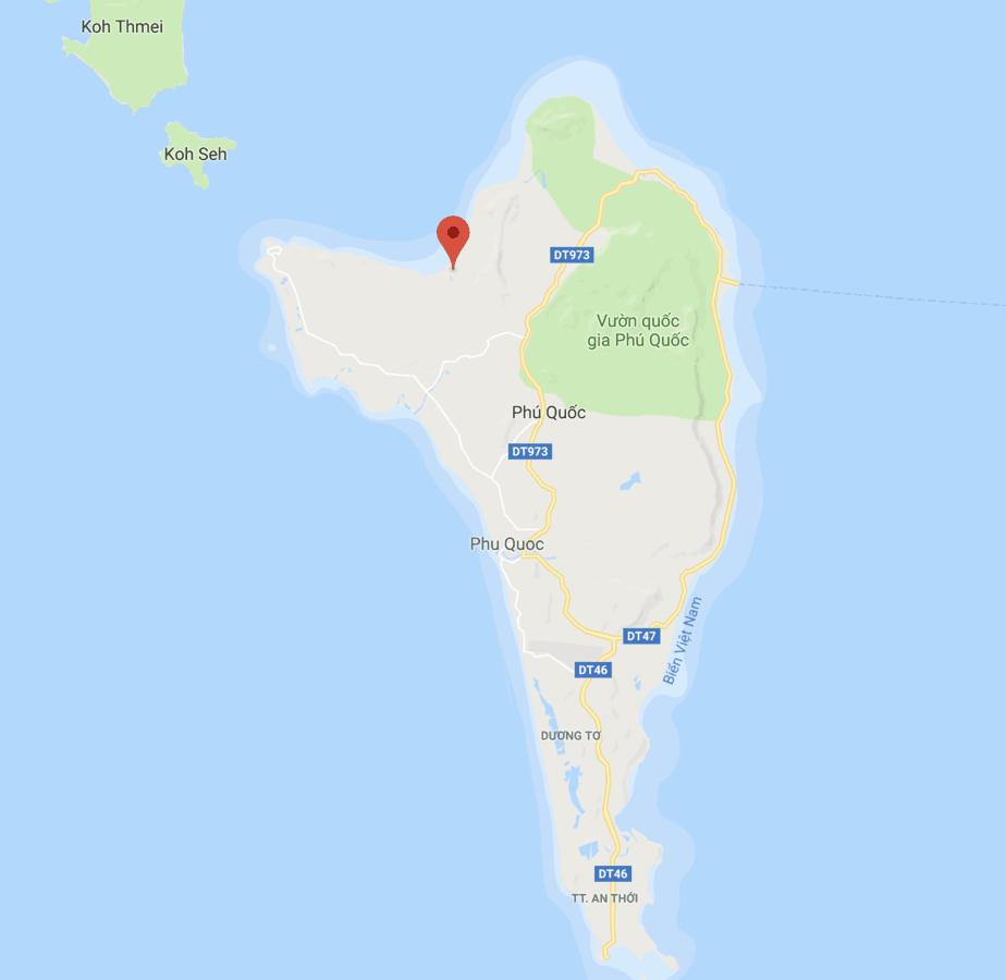 Địa điểm của làng chài Rạch Vẹm trên bản đồ.