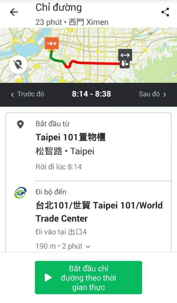 Hướng dẫn đường đi đến Ximending qua ứng dụng Movit