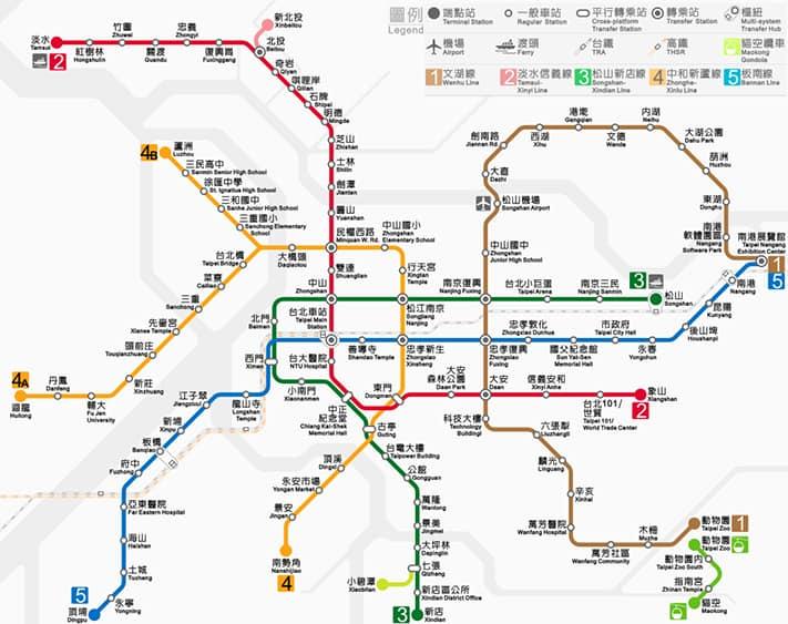 bản đồ tàu điện ngầm đài loan