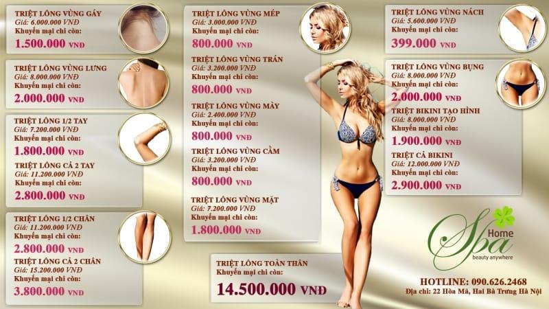 Bảng giá dịch vụ triệt lông tại Home spa